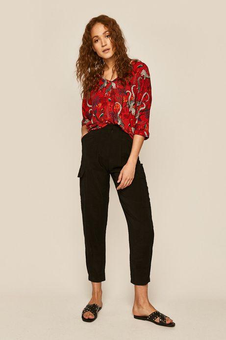 Bluzka damska damska z kimonowymi rękawami czerwona