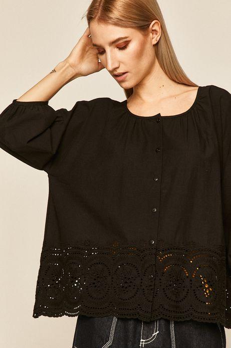 Bluzka damska z ażurowym haftem czarna