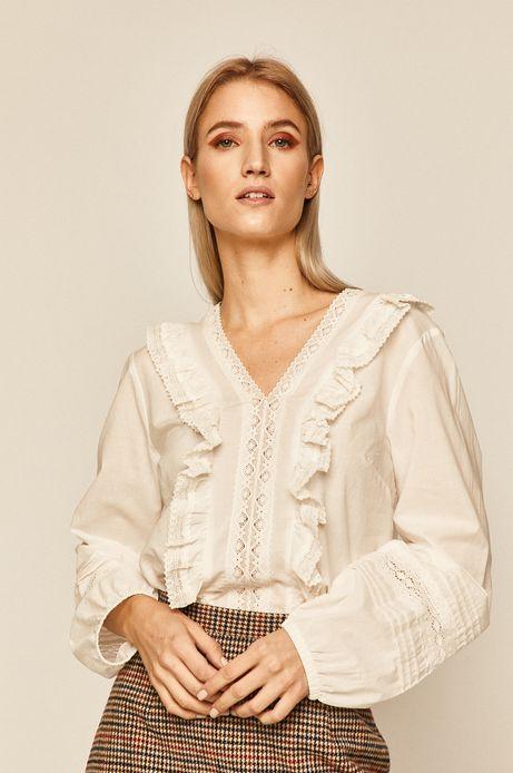 Koszula damska z falbanką kremowa