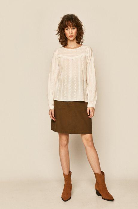 Bluzka damska z falbanką biała