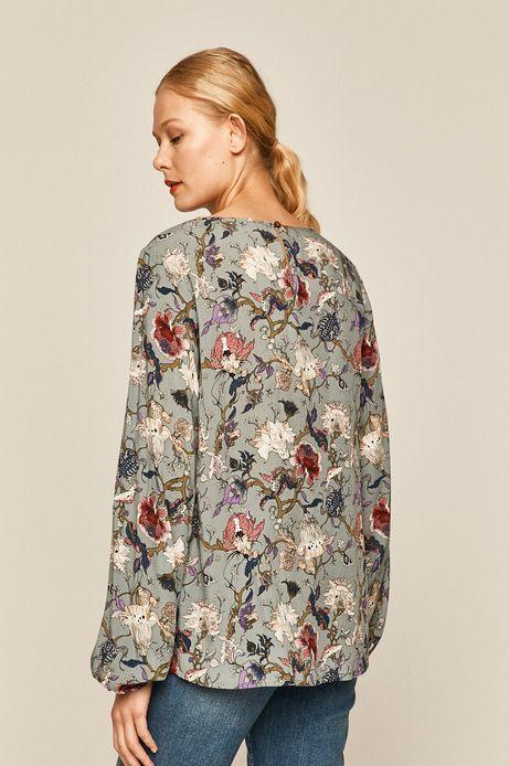 Bluzka damska wzorzysta turkusowa