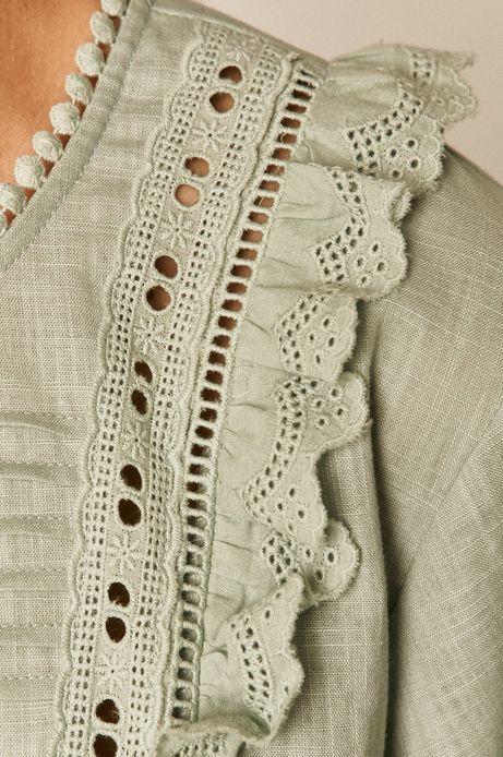 Bluzka damska z falbanką turkusowa