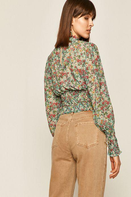 Bluzka damska z marszczeniem zielona