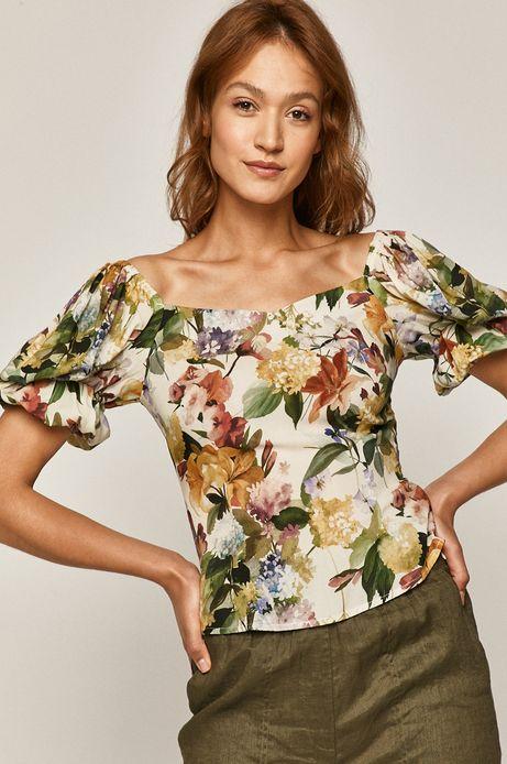 Bluzka damska w kwiaty z bufiastymi rękawami