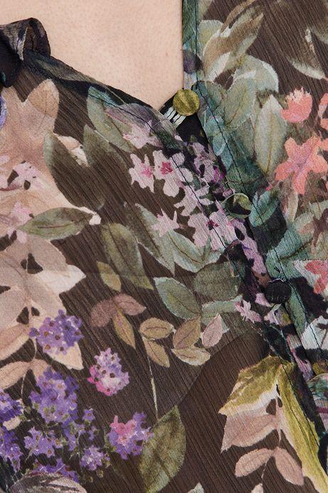 Bluzka damska z falbanką w kwiaty