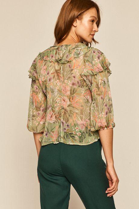 Bluzka damska z falbankami zielona