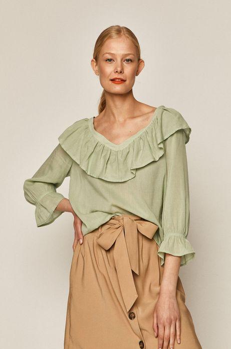 Bluzka damska z falbanką zielona