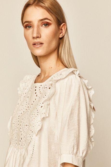 Bluzka damska z ażurowym haftem i falbanką beżowa