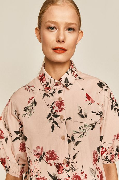 Koszula damska w kwiaty różowa