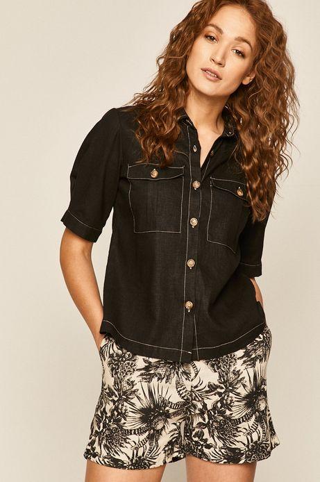 Koszula damska lniana czarna