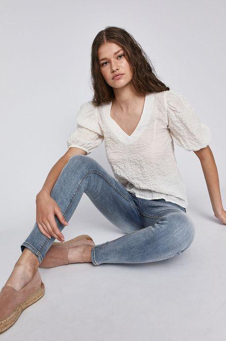Bluzka damska z bufiastymi rękawami biała