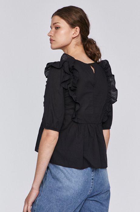 Bluzka damska z falbankami czarna
