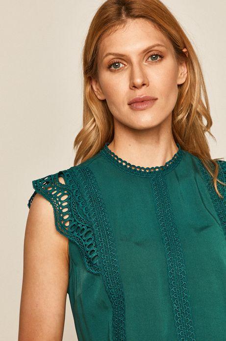 Bluzka damska z koronkową aplikacją zielona