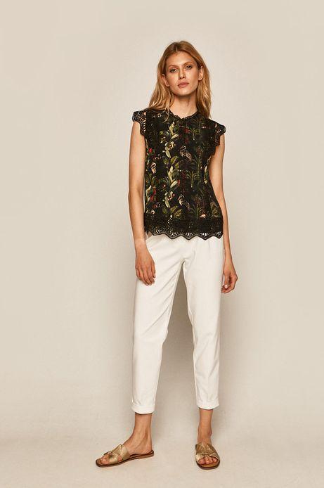 Wzorzysta bluzka damska z koronkową aplikacją czarna