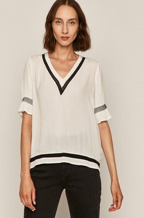 Bluzka damska ze spiczastym dekoltem biała