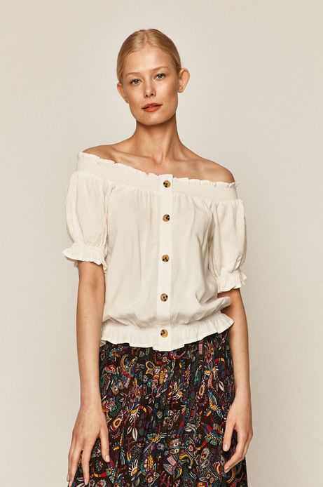 Bluzka damska z marszczeniem kremowa