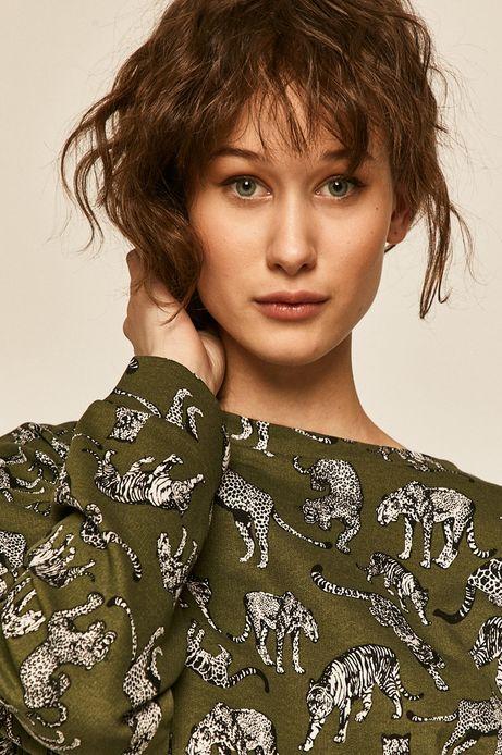 Bluza damska wzorzysta zielona
