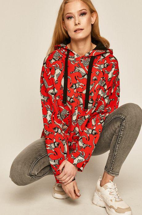 Bluza damska w koty czerwona