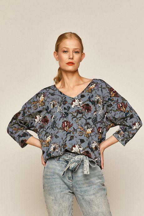 Bluza damska wzorzysta turkusowa
