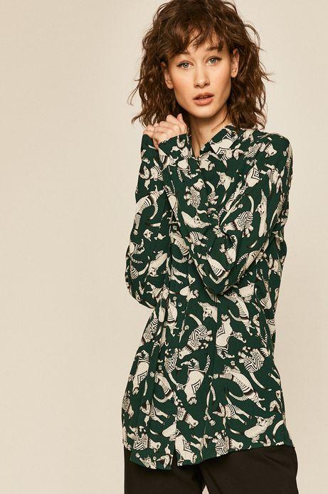 Koszula damska wzorzysta zielona