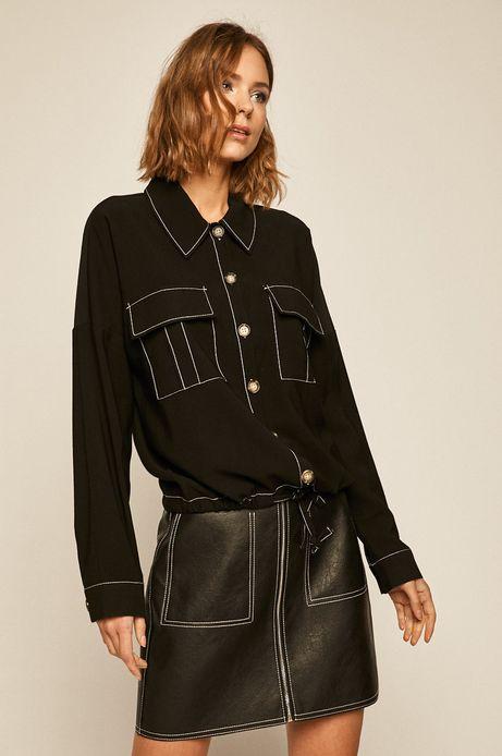 Koszula damska z kieszeniami czarna
