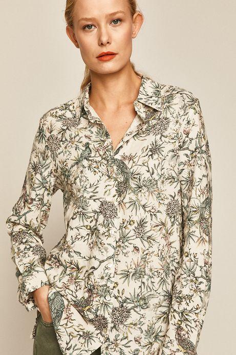 Koszula damska lniana wzorzysta biała