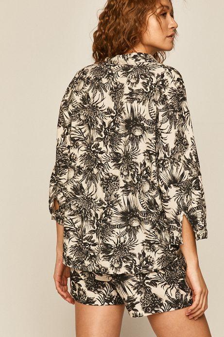 Wzorzysta koszula damska z domieszką lnu kremowa