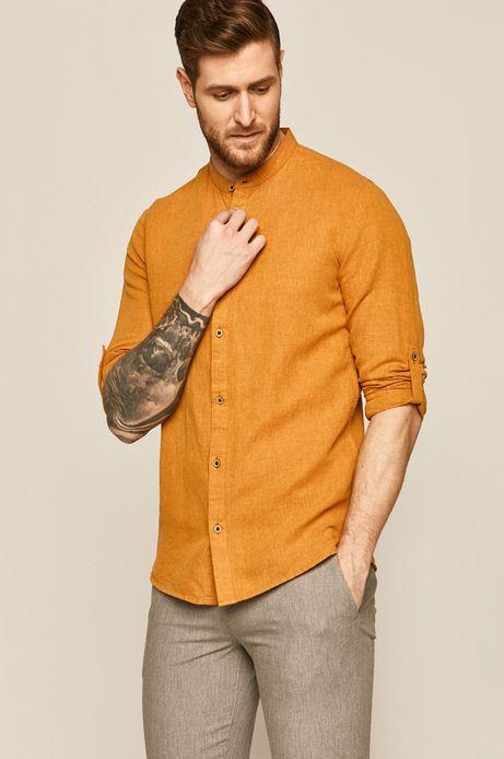 Lniana koszula męska ze stójką żółta