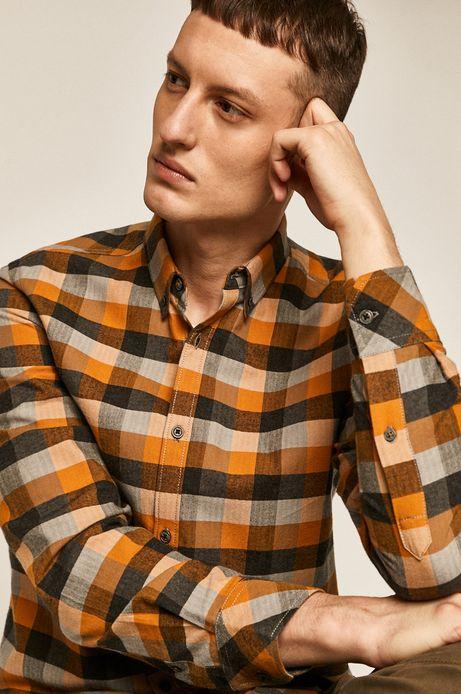 Koszula męska w kratkę brązowa