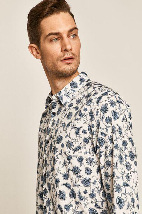 Koszula męska comfort slim wzorzysta biała