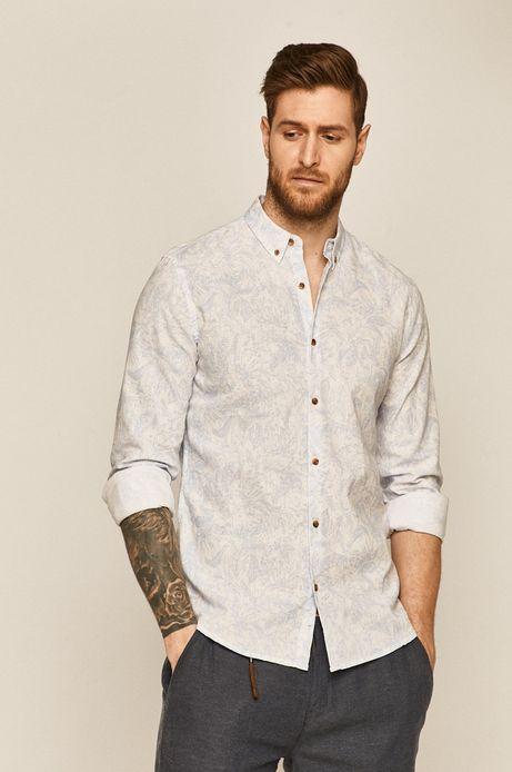 Wzorzysta koszula męska lniana biała