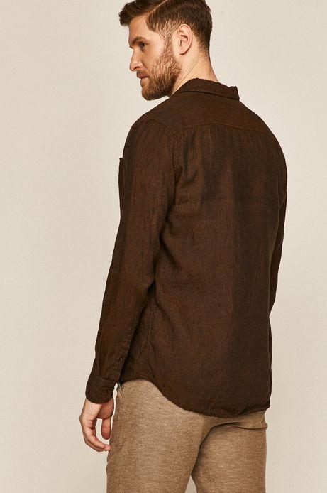 Koszula męska lniana brązowa