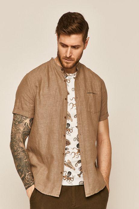 Koszula męska lniana beżowa