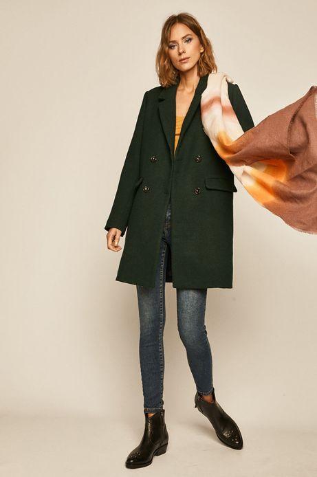 Płaszcz damski z domieszką wełny zielony