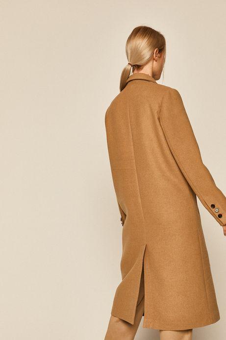 Płaszcz damski z domieszką wełny beżowy