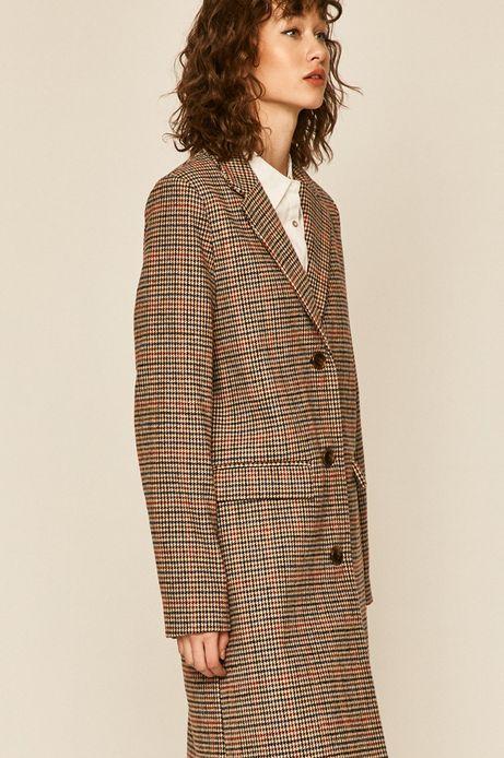 Płaszcz damski w kratkę z domieszką wełny
