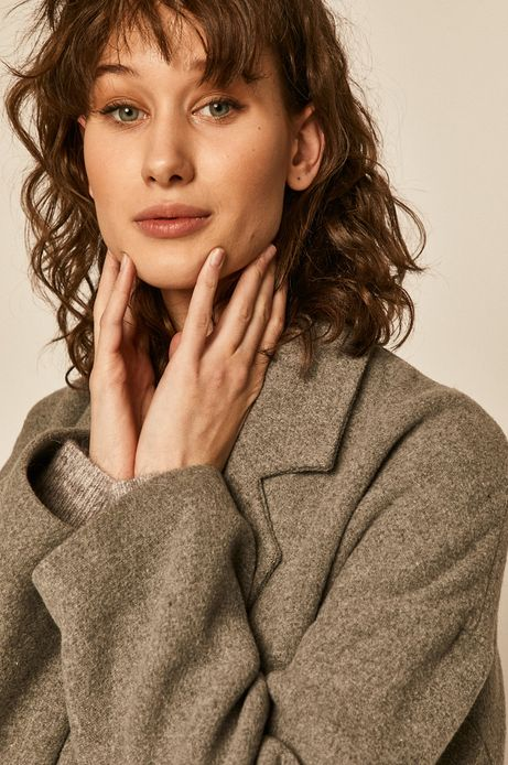 Płaszcz damski dwurzędowy z domieszką wełny szary