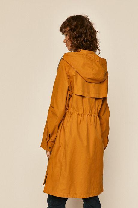 Płaszcz damski na podszewce żółty