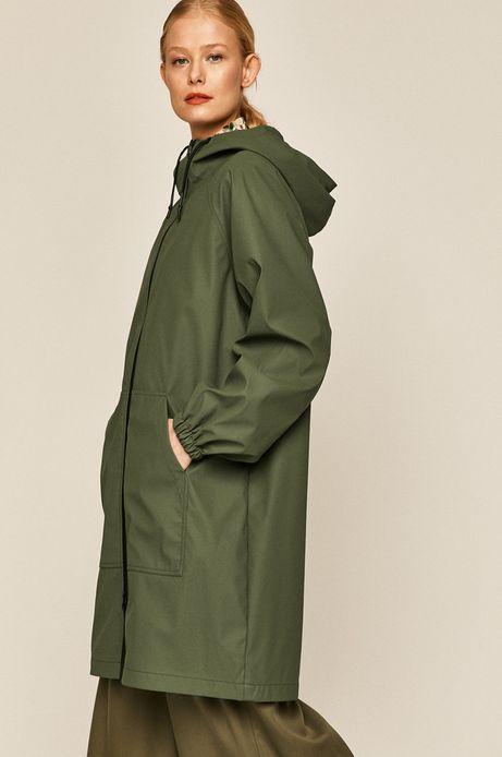 Przeciwdeszczowy płaszcz damski na podszewce zielony