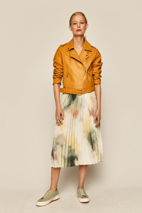 Ramoneska damska ze skóry ekologicznej żółta