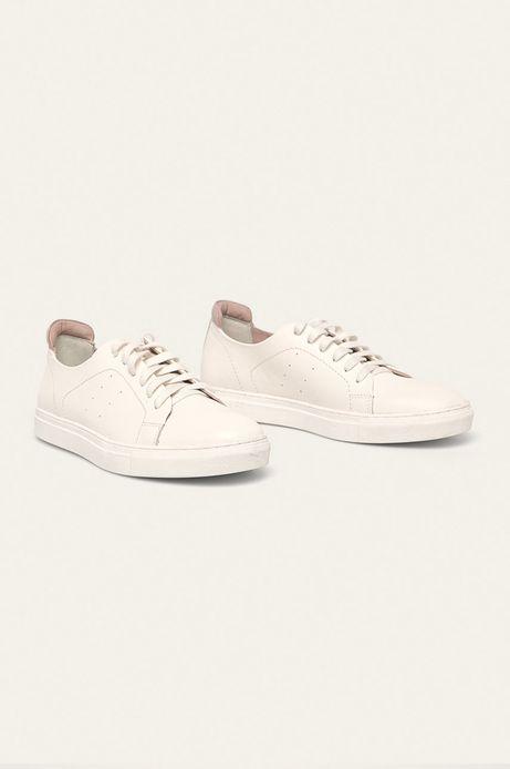 Skórzane buty damskie białe