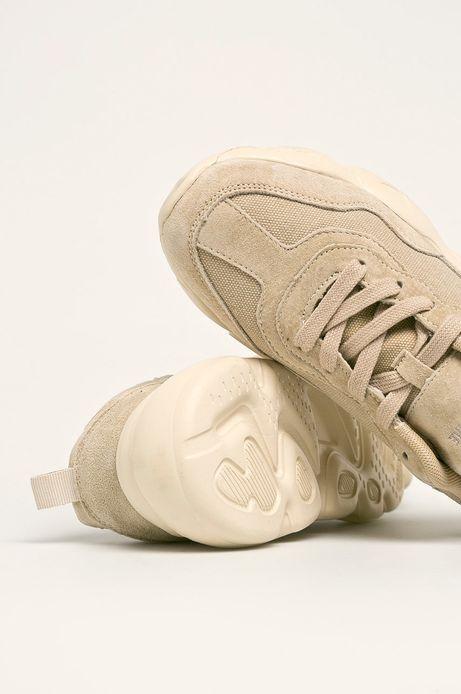 Skórzane buty damskie na grubej podeszwie beżowe