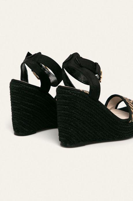 Sandały damskie na koturnie czarne