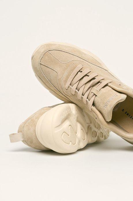 Skórzane buty męskie na grubej podeszwie beżowe