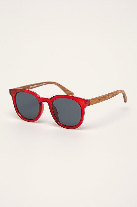 Okulary przeciwsłoneczne damskie z drewnianymi zausznikami z funkcją flexible czerwone