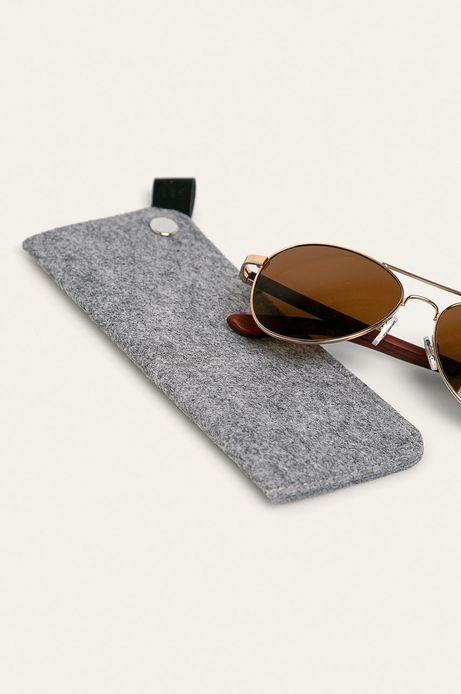 Okulary przeciwsłoneczne damskie aviator z drewnianymi zausznikami z funkcją flexible brązowe