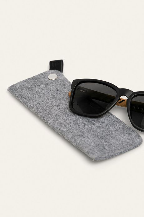 Okulary przeciwsłoneczne męskie z polaryzacją oraz bambusowym zausznikami z funkcją flexible czarne