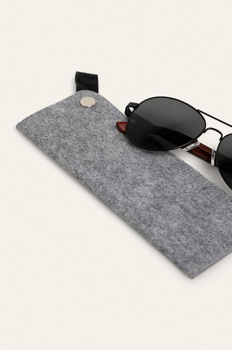Okulary przeciwsłoneczne męskie aviator z drewnianymi zausznikami z funkcją flexible czarne