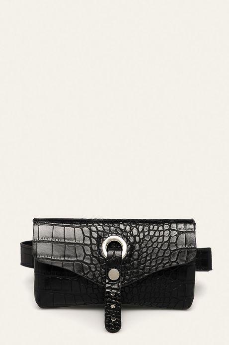 Pasek z saszetką z motywem skóry krokodyla czarny