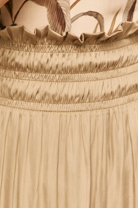 Spódnica damska z marszczeniem beżowa